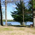 Pickerel Lake Campground Picnic Tables and Lake